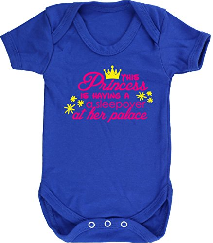 Hippowarehouse This Princess is Having a Sleepover at her Palace Baby Vest Bodysuit (Short Sleeve) Boys Girls Royal Blue