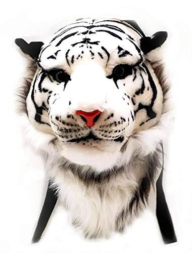 WYCY Zaino in Peluche con Testa di Tigre 3D Freddo Borsa per la Scuola Degli Animali Zaino in Peluche di Simulazione 3D di Personalità Prepotente Zaino Decorativo Alla Moda (bianca, grande)