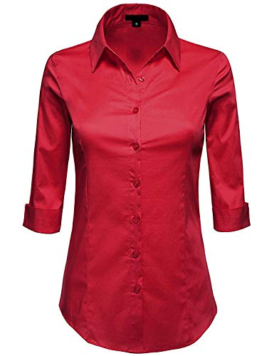 MAYSIX APPAREL 3/4 Sleeve Stretchy Button Down Collar Office Formal Shirt Blouse for Women DarkRed L