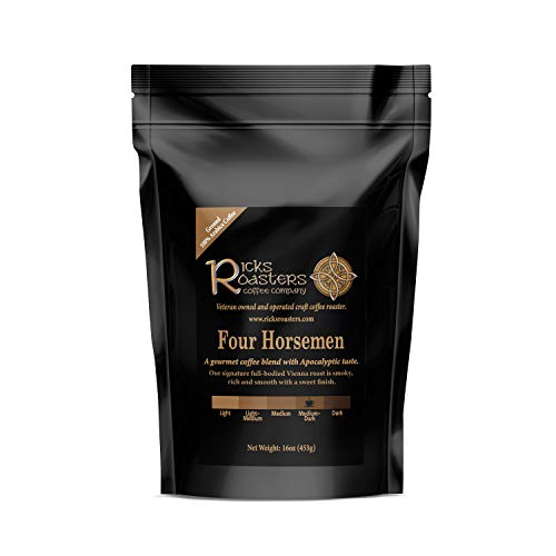 Ricks Roasters Coffee | Four Horsemen Specialty Blend | 1 Pound (1 lb) Ground | Pacific, Central American, African & Espresso Beans | USA Veteran Owned & Operated