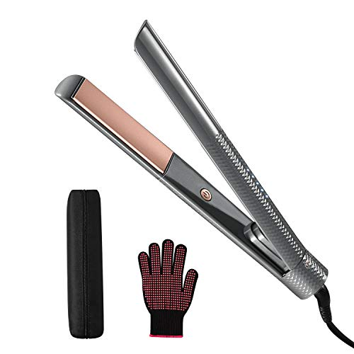 Professional Hair Straightener,Tourmaline Ceramic Flat Iron,Travel Size,Dual-Voltage 2-in-1 Straightener and Curler,Rotary Safety Lock,LED Light to Adjust 320℉-460℉Salon-Class High Temperature,Gray