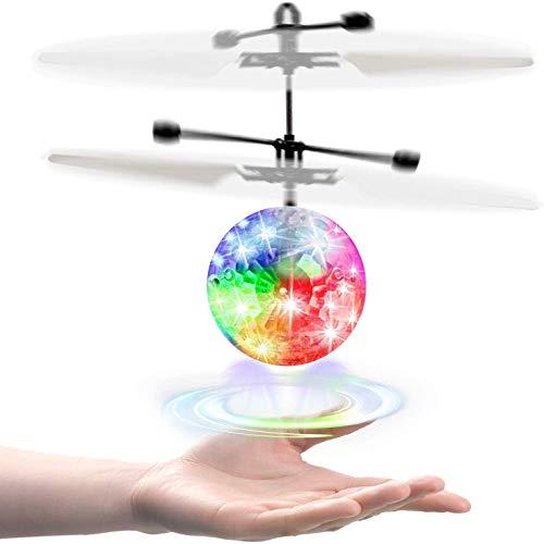 UTTORA RC Fliegender Ball Kinder Spielzeug,Schuzbrille und Fernbedienung,LED RC Flugzeug Helikopter mit Handsensor Infrarot Mini Hubschrauber Fliegendes Spielzeug,Indoor und Outdoor Spiele
