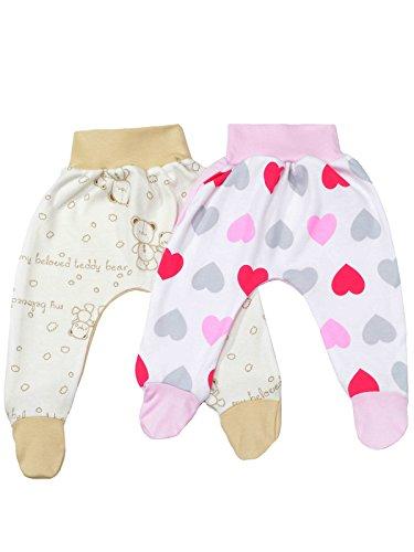 klekle Baby Mädchen Pump Strampel Baggy Hose (2er Pack) Rosa Herz Beige Bär 22759 Größe 68