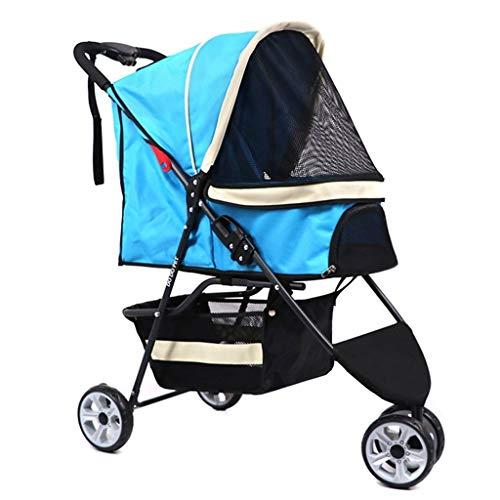 MZP Hondenwagen Pet Stroller Dieren kar Pet Roadster - Luxe kinderwagen voor pups, senioren, honden of katten, eenvoudig inklapbare driewieler Travel Pet Jogger Max. belasting 15 kg blauw