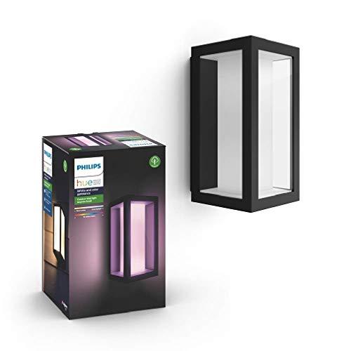 Philips Hue White and Color Ambiance Impress Led-wandlamp, smal, voor buiten, dimbaar, tot 16 miljoen kleuren, bestuurbaar via app, compatibel met Amazon Alexa (Echo, Echo Dot)