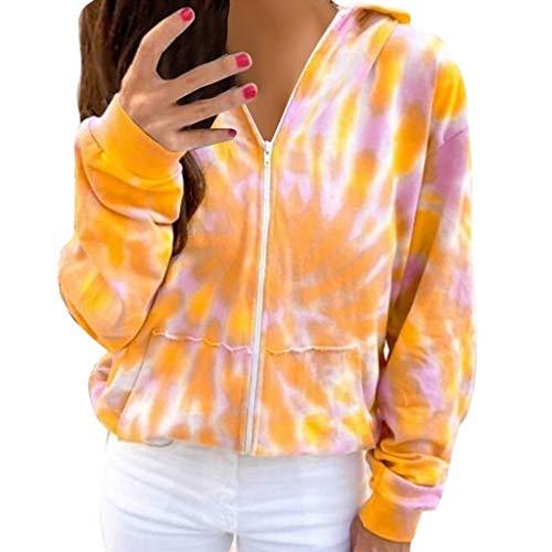 BUKINIE Damen-Kapuzenjacke, langärmelig, mit Reißverschluss, Colorblock-Batik, gemütlich, übergroß, leichte Oberbekleidung Gr. 38, gelb