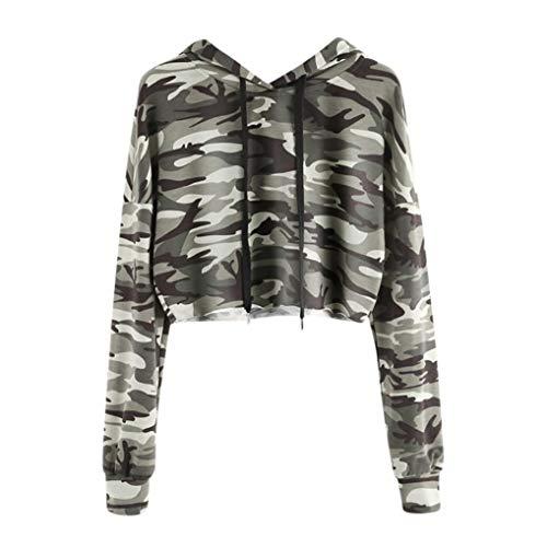iHENGH Sweatshirt, Damen Hoodie Camouflage Bedruckte Sweatshirt Langen Ärmel Pullover Tops Bluse Frauen Pullover