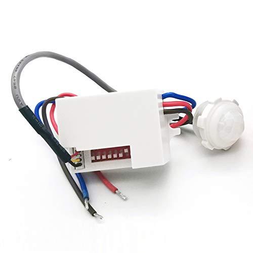 Sensor PIR QWYEURO para interiores, empotrado, montaje en techo para instalación, rango de sensor de movimiento por infrarrojos máx.6 m/360°