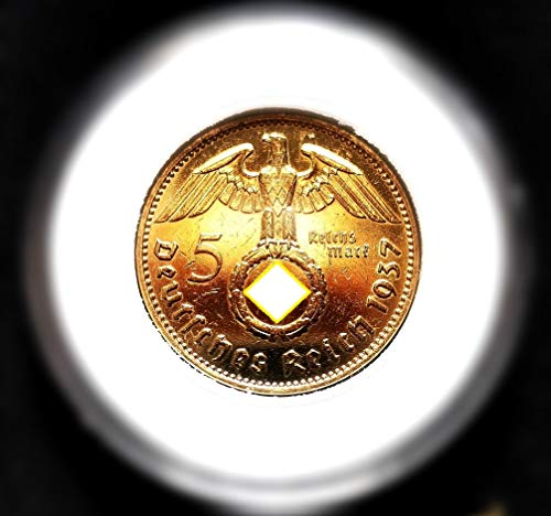5 Reichsmark 1937 Motiv: Adler/Hindenburg 24 Karat Vergoldet