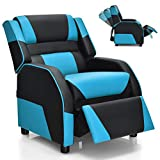Giantex Kids Recliner, Kids/Youth Gaming Recliner Chair, Racing Style Game Sofa with Headrest and Lumbar Support, Ergonomic PU Leather Armchair Lounge Chair for Living & Gaming Room (Blue)