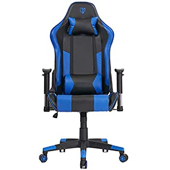Max4out Gaming Chair Racing Chair Reclining Back Leather E-Sports Chair Adjustable Swivel Computer Desk Chair with Headrest and Lumbar Support Blue