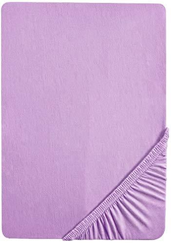 Preisvergleich Produktbild biberna 0077144 Feinjersey Spannbetttuch (Matratzenhöhe max. 22 cm) (Baumwolle) 140x200 cm -> 160x200 cm,  viola