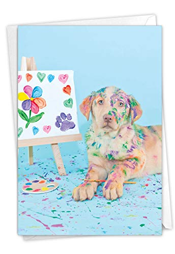The Best Card Company Dirty Dogs - Sorry Greeting Card with Envelope (4.63 x 6.75 Inch) - Painting Messy Mutt C7217ESRG