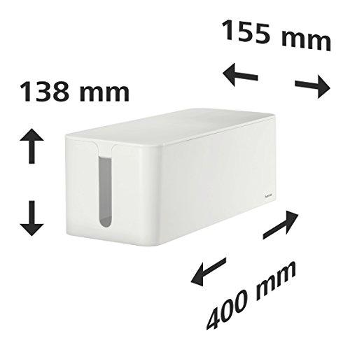 Hama Kabelbox Maxi mit Gummifüßen (Kabelmanagement, 40 x 15,5 x 13,8 cm (B x T x H)) weiß