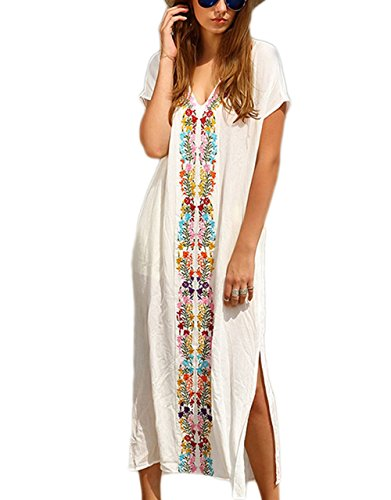 Bsubseach Women White Embroidery Short Sleeve Swimsuit Cover Up Long Maxi Dress Kaftan