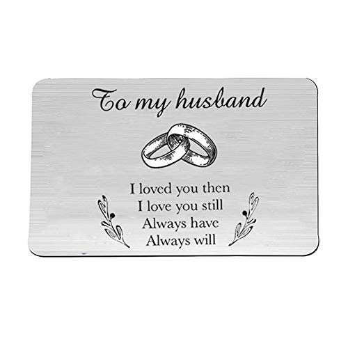 NineJewelry Personalised Card Insert for Wallet,Stainless Steel Interlocking Ring Engraved Wallet Insert Card to My Husband Customised Wallet Cards for Men for Valentine's Day