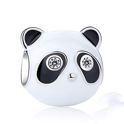 LISHOU DIY 925 Cuentas De Plata Esterlina Esmalte Negro Claro Panda Brazaletes Mujeres Se Ajustan A Original Pandora Pulseras Collar Colgante Fabricación De Joyas