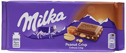 Milka Peanut Crisp – Zartschmelzende Schokolade mit Erdnüssen, Karamellstücken und Cornflakes – 24 x 90 g