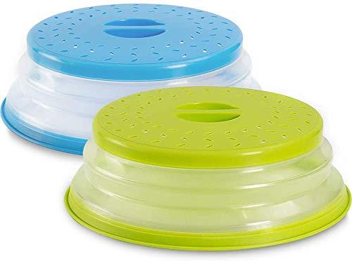 CHEPL 2PCS Tapa para microondas Plegable Colador Plegable,Colador Plegable para microondas,Para Prueba Salpicaduras Para Colar, Drenaje y Enjuague Frutas(Azul/Verde)