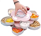 Rotating snack tray, double heart-shaped fruit tray, 10 divided candy containers with phone holders, used for nut, candy, and dried fruit food storage organizer