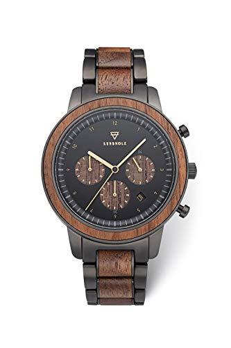 KERBHOLZ Holzuhr – Classics Collection Maximilian Quarz Uhr, Holz Chronograph für Herren, verstellbares Armband aus massivem Edelstahl, Ø 44mm