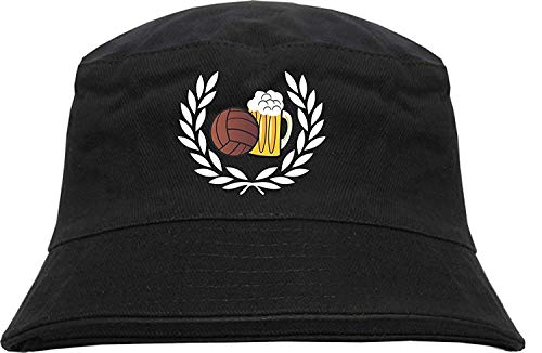 HB_Druck Lorbeerkranz Fussball Bier Fischerhut - Bucket Hat - Bestickt - L/XL Schwarz