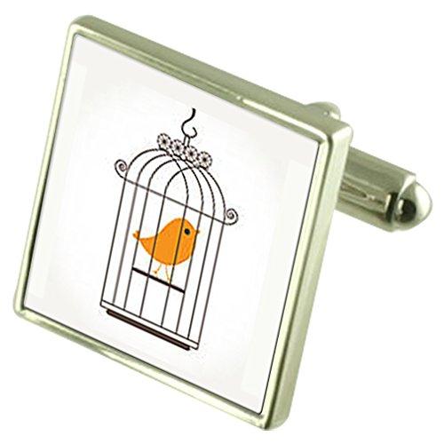 Select Gifts Bird Cage canarias Gemelos Plata esterlina Grabados de Verificación Opcional