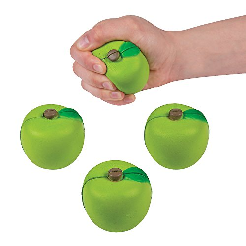 Fun Express Green Apple Shaped Stress Toys - 12 Pieces - Educational and Learning Activities for Kids