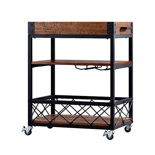 Shopping Carts SKTY Wine 3-Tier Wrought Iron Service Trolley Home Hotel Restaurant Wine Rack Multifunctional Storage Trolley (Light Brown, 65 * 35 * 81CM) Rack A trolley for temporarily storing select