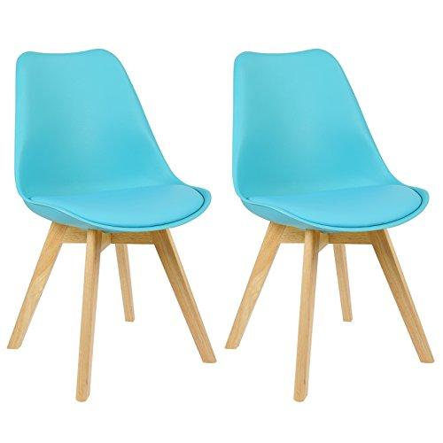 WOLTU 2X Sedie da Cucina con Schienale di Plastica Seduta Morbida di Ecopelle Gambe in Legno Blu BH29bl-2