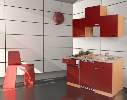 respekta KB150BR Küchenzeile Küchenblock Single Küche Buche rot 150 cm mit Geräten