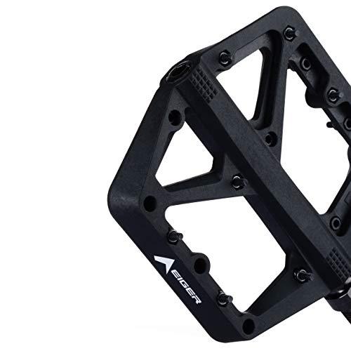 "Eigertec Basic MTB Pedals Mountain Bike Pedals Lightweight Nylon Fiber Bicycle Platform Pedals Flat Pedal for BMX MTB 9/16"" (Cyclist_Black)"