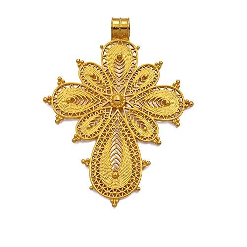 QDGERWGY Colgante de Cruz etíope, Cadena de Cuerda DIY para Mujeres y niñas, joyería de Eritrea de Color Dorado, Cruces africanas