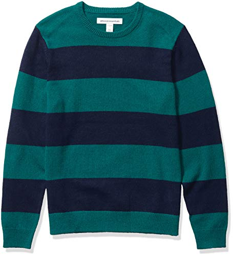 Amazon Essentials Men's Midweight Crewneck Sweater, Emerald/Navy, Large