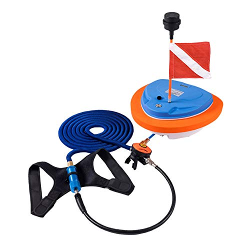 Aquarobo Diving Ventilator, Portable Rechargeable Scuba Diving Tank, Waterproof Air Compressor with 39 ft Hose & Diving Breathing Regulator Octopus Hookah with Mouthpiece