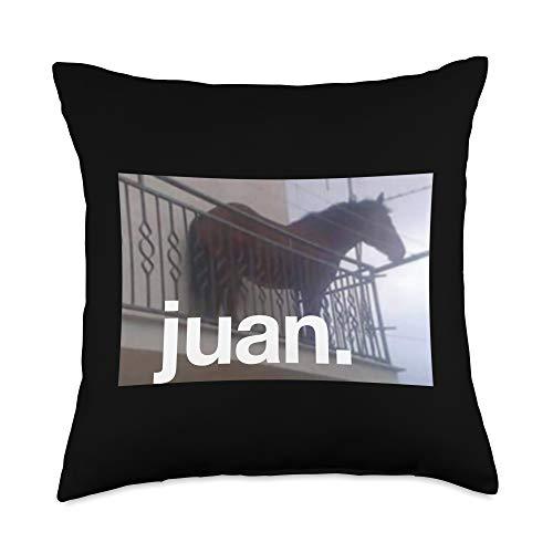 Horse Memes Juan Horse On Balcony Meme Throw Pillow, 18x18, Multicolor