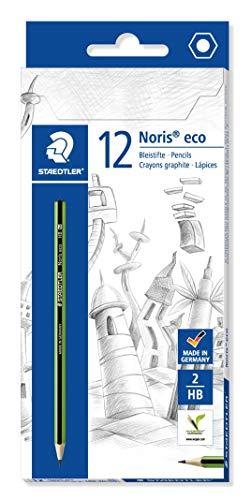STAEDTLER Bleistift Noris eco, hohe Bruchfestigkeit, rutschfeste Soft-Oberfläche, Wopex-Material, Härtegrad HB, Kartonetui mit 12 Stück, 180 30-HB