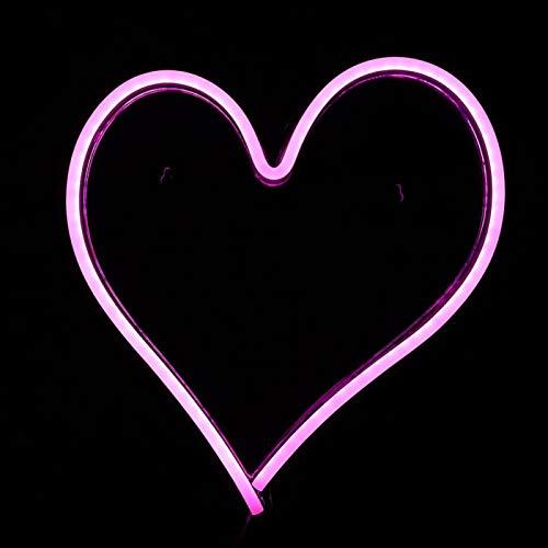 SALUTUYA Herzförmige Lampe Dekor USB-Kabel PVC Neonlampe, Lichtschild, Dekoration Geschenk für Wand für Tisch