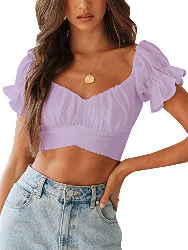 LYANER Women's Ruffle Short Sleeve Tie Up Back Crop Top Off Shoulder Bardot Blouse Lavender Small