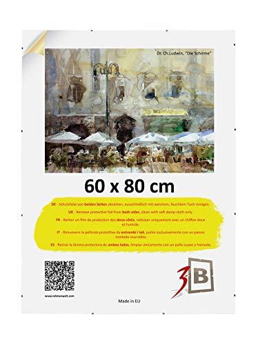 3-B Bilderrahmen: Rahmenloser Bildhalter mit Polyesterglas - Cliprahmen - 60 x 80 cm