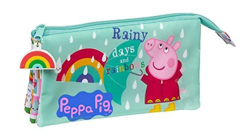 SAFTA 812172744 Astuccio triplo di Peppa Pig, 220 x 30 x 120 mm, multicolore