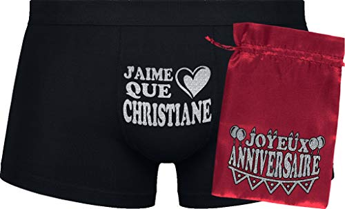 Herr Plavkin J'aime Que Christiane | Cadeau d'anniversaire | Black Boxershorts| Red Bag 'Happy Birthday'.