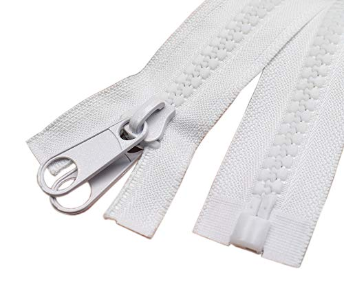 ByaHoGa #10 - Cremallera grande de plástico divisible con doble tiro para cubrir tiendas de campaña, saco de dormir, color blanco