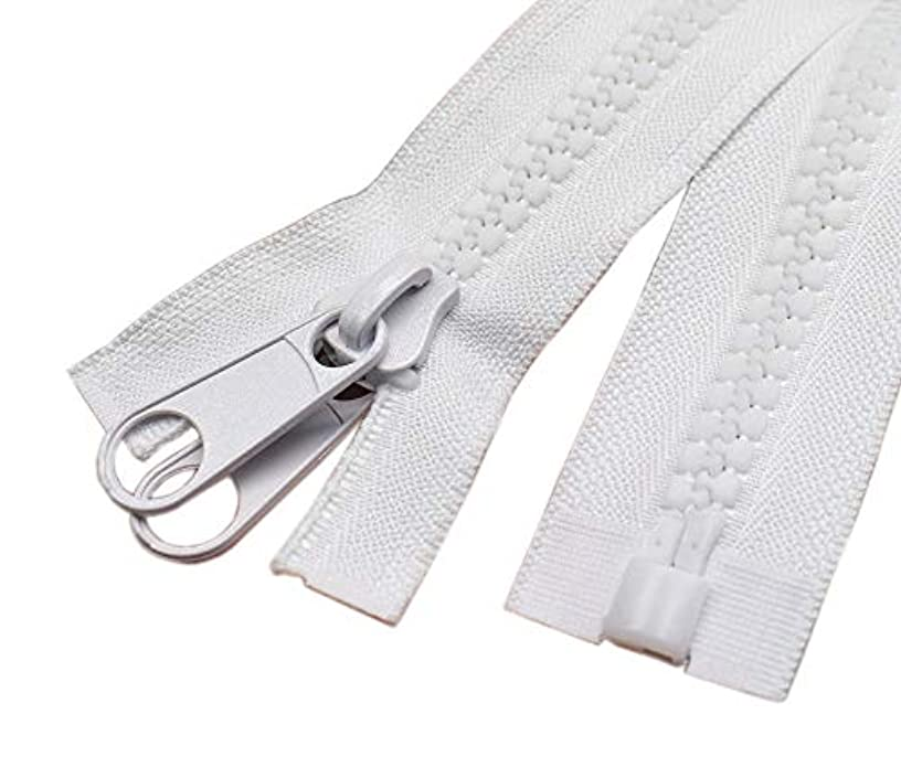 YaHoGa 2PCS #10 60 Inch Separating Large Plastic Zippers White with Double Pull Tab Slider Heavy Duty Zippers for Sewing, Sleeping Bag, Boat, Marine, Canvas, Cover, Dog Bed, Tent (60