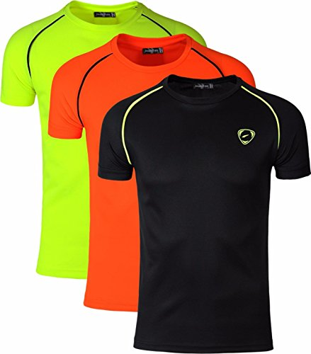 jeansian Hombre Casual Vestir Camiseta Workout T-Shirts Sportswear Compression Tops LSL182 PackA...