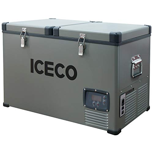 ICECO VL65 68 Quart Dual Zone Portable Refrigerator with SECOP Compressor, 65 Liters Deep Freezer, DC 12/24V, AC 110-240V, 0℉ to 50℉, Home & Car Use (without Insulate Cover)
