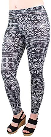 CARNIVAL Women s Full Length Printed Soft Microfiber Legging B W Quilt A620 Large product image