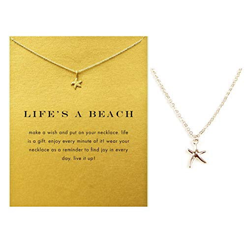VIIRY Friendship Starfish Clavicle Necklace with Blessing Card,Small Dainty Gold Pendant Necklace for Women Gift Card