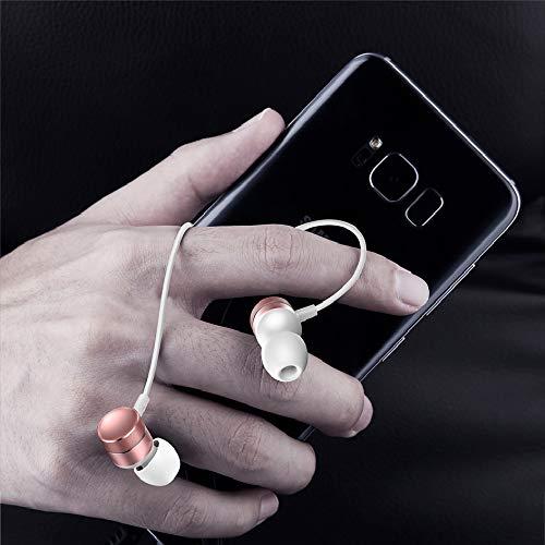 In-Ear-Kopfhörer, HD Geräuschunterdrückung, Kopfhörer mit Mikrofon, H04 Subwoofer Kopfhörer, geeignet für iPhone, Android und MP3-Player Rose Gold