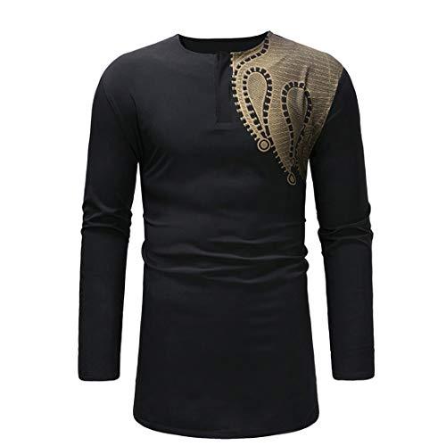 Herren Shirt Langarm Dashiki Hemd Herren Freizeit Traditional National Hot Gold Printed Long-Sleeved Shirt Herbst Afrikanischen Print Anzug Lässige Ethno-Druck 2020 Tops Männer XL